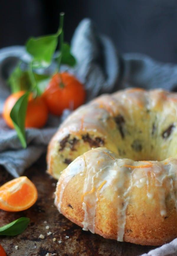 Tangerine Dark Chocolate Pound Cake topped with glaze