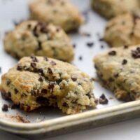 Chocolate chip scones on baking sheet