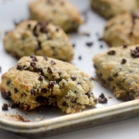 Chocolate chip scones on baking sheet