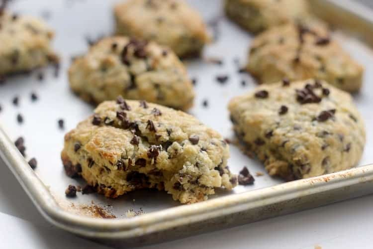 Chocolate Chip Scones on a sheet pan