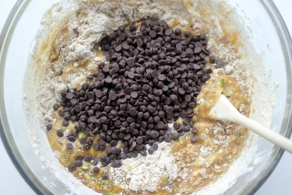 Chocolate chips added to muffin batter