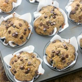 Whole wheat summer squash chocolate chip muffins in baking pan