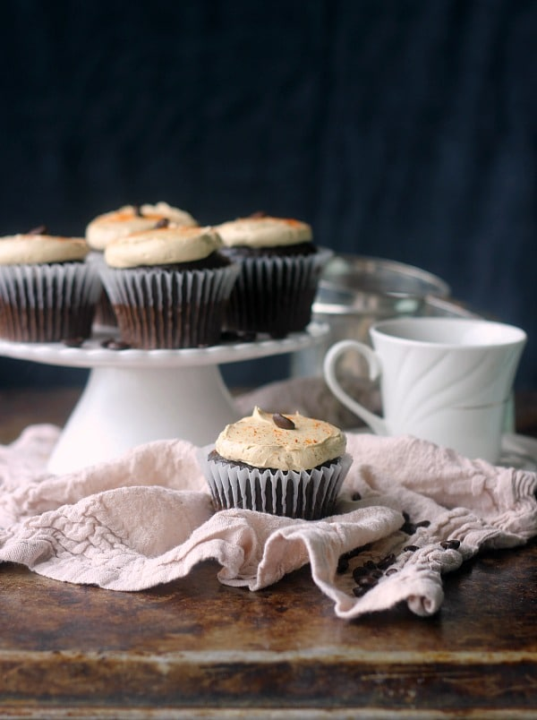 Chili Mocha Cupcake with a cup of coffee