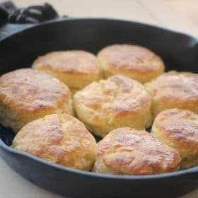 Classic butter biscuits in a cast iron skillet