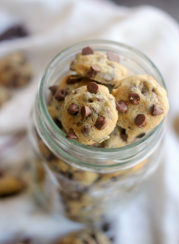 One bite chocolate chip cookies in a mason jar