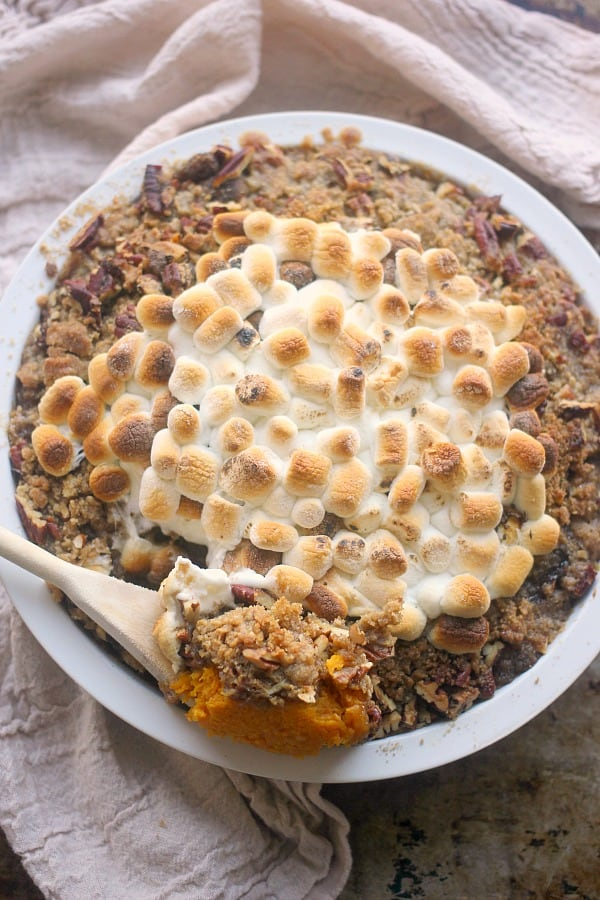 Roasted Butternut Squash topped with praline topping and toasted marshmallow