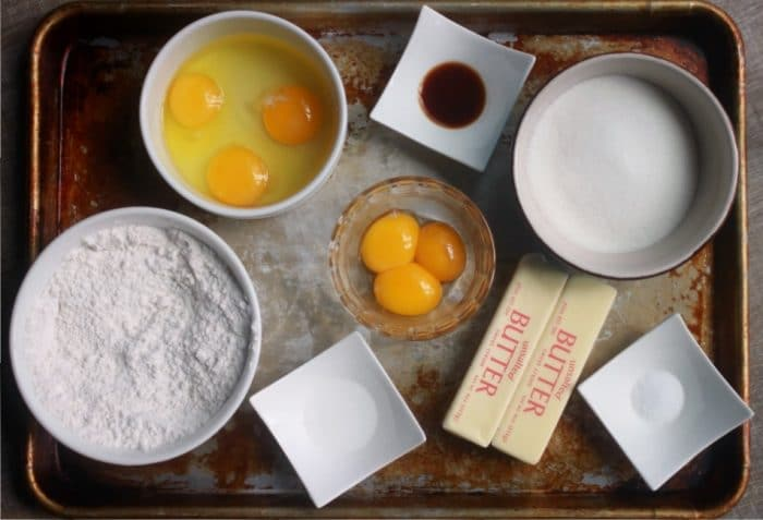 ingredients measured out for a cake