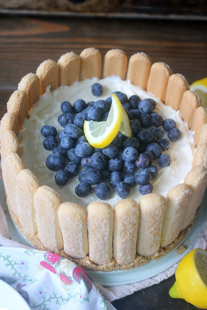 Top view of the whole Blueberry Lemon No-Bake Cheesecake