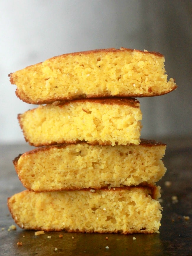 Cornbread slices stacked up