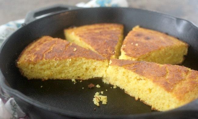 Cornbread slices in a skillet