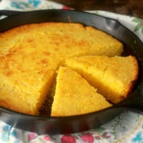Cornbread slices in a skillet