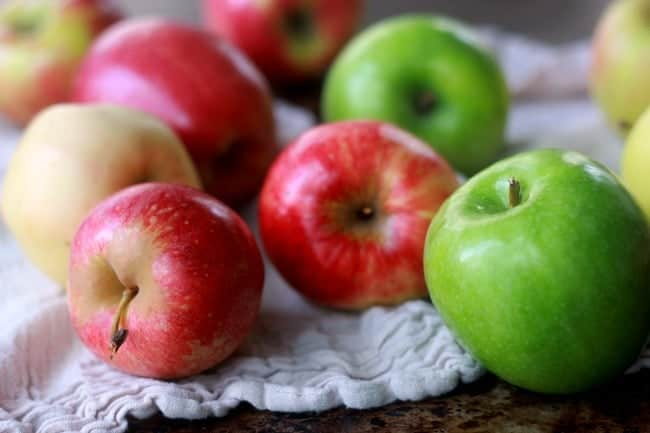 Variety of fresh green and red apples