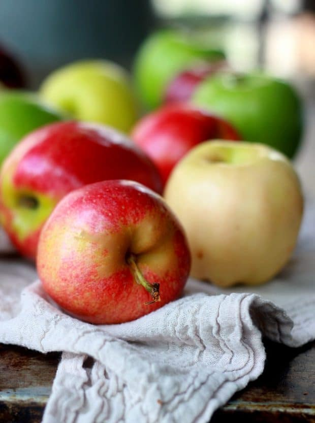 A variety of red and green fresh apples