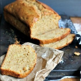 Sweet quick bread loaf cut in slices