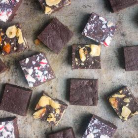 Variety of fudge. Chocolate Fudge, Peppermint Fudge, Nut Fudge