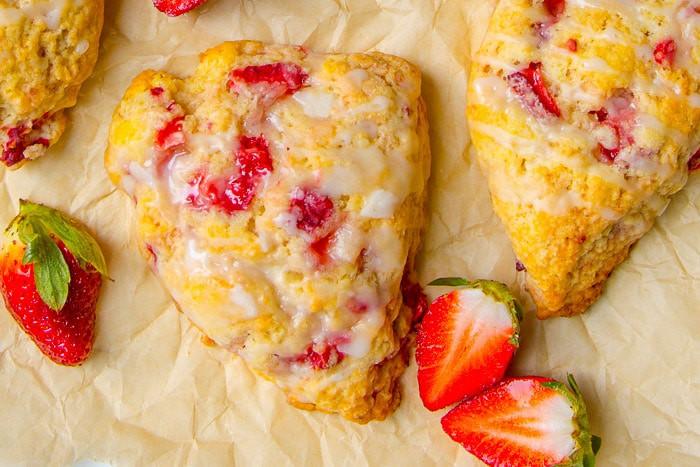 Strawberry Cream Scones with sweet glaze