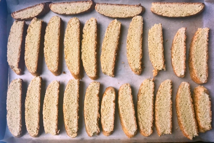 How to Make Biscotti: Cookies being baked twice