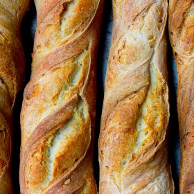 French Baguettes lined up