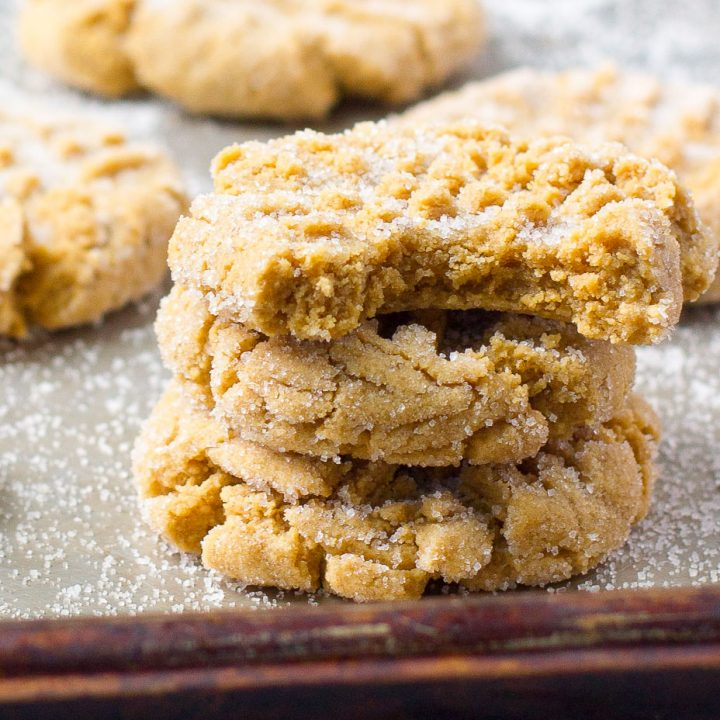 Soft peanut butter cookies on cookie sheet