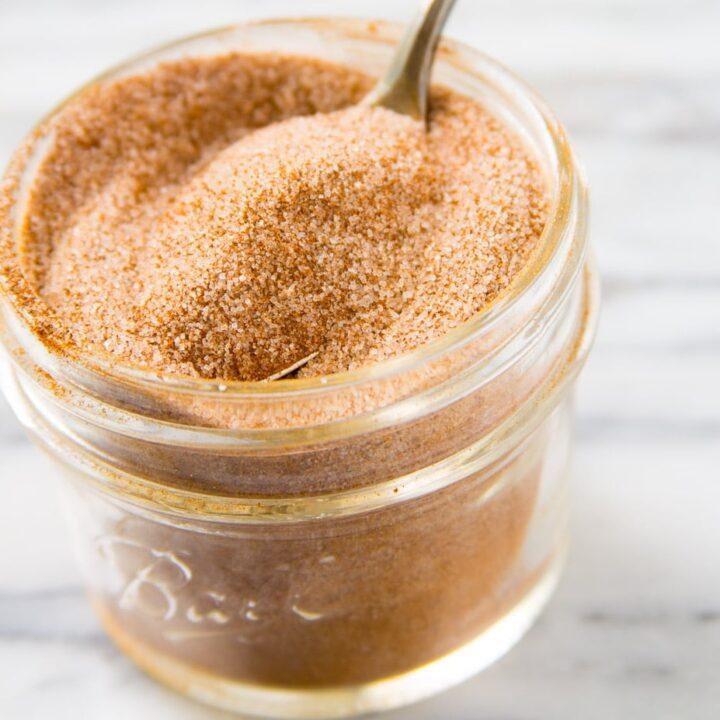 Cinnamon sugar mxiture in a jar