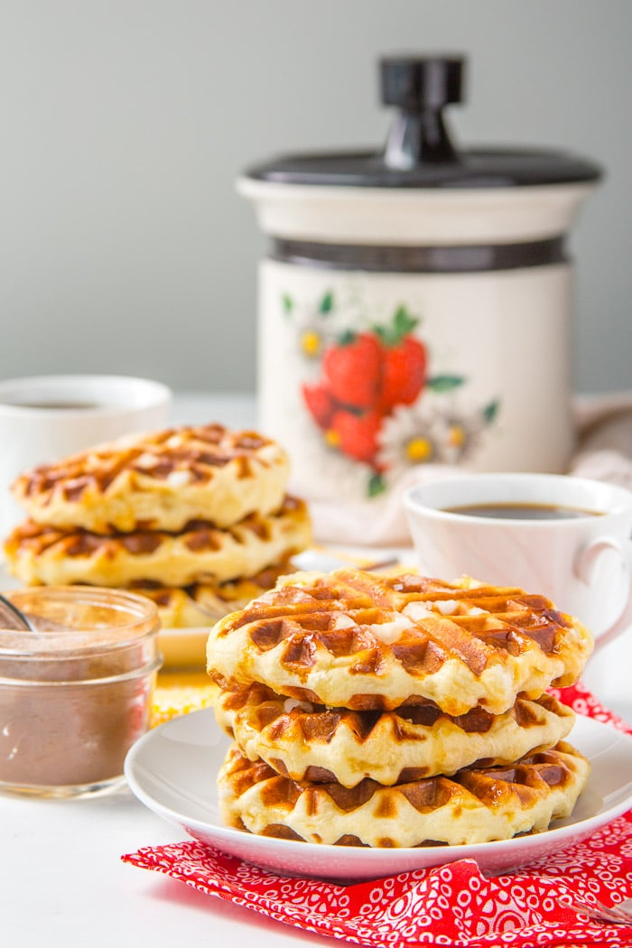 Belgian Liege Waffles stacked up on a plate