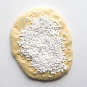 Pearled sugar added to dough