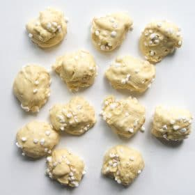 Dough divided into small portions