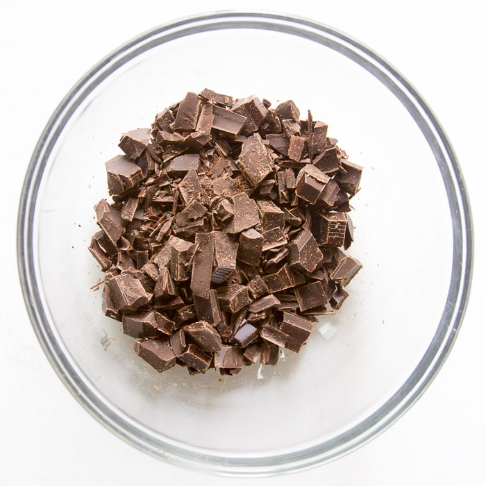 Chopped chocolate ready to be microwaved
