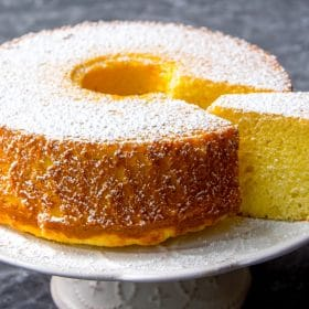 Plain fluffy chiffon cake with powdered sugar