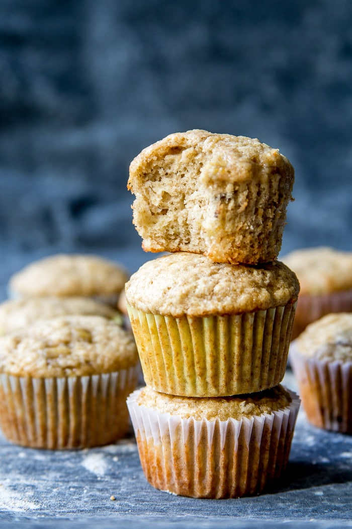 Banana muffins stacked up