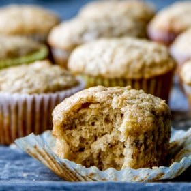 Banana muffin with a bite taken out