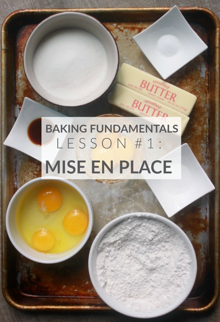 "Ingredients measured out for ""Baking Fundamentals Lesson #1: Mise En Place"""