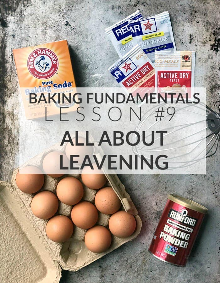 """Text image saying """"Baking Fundamentals Lesson #9: All About Leavening"""""""