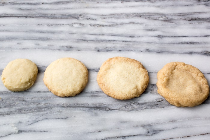 Cookies baked with different types of sugar