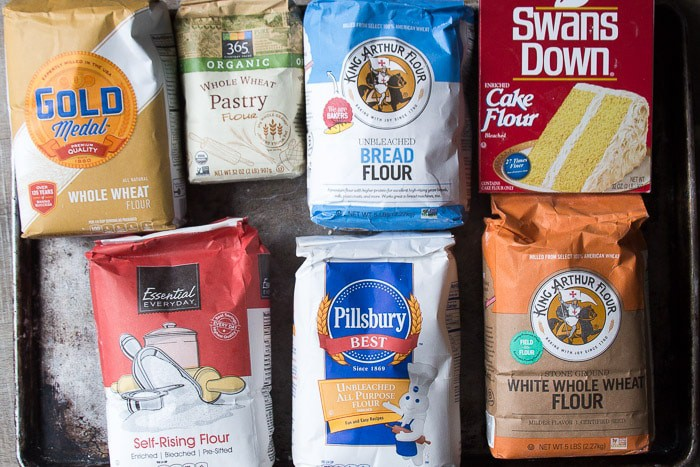 Bags of various types of flour