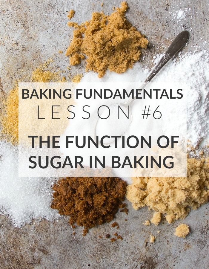 """Text image saying """"Baking Fundamentals Lesson #6: The Function of Sugar in Baking"""""""