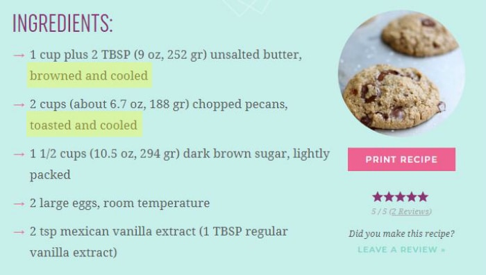Recipe ingredients for cookies
