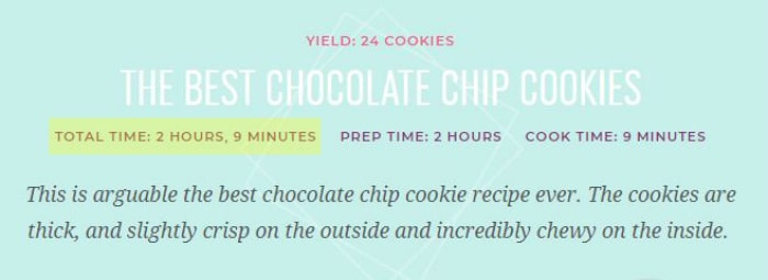 Recipe example showing total time, prep time, cook time and recipe yield