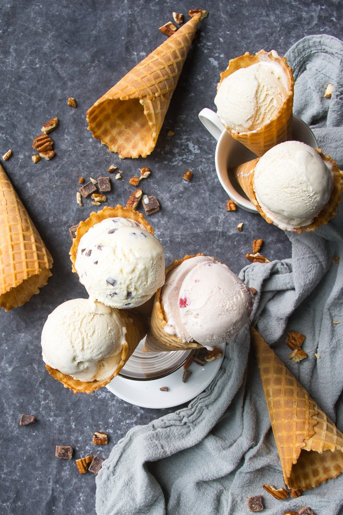 Varying flavors of ice cream in waffle cones