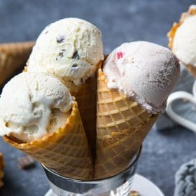 Homemade ice cream in waffle cones