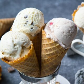 Homemade ice cream in waffle cones