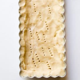 Shortbread crust pricked with a fork before baking