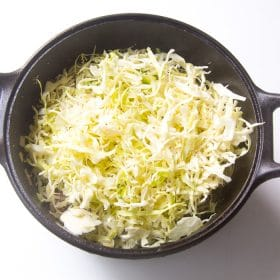 Cabbage and salt added to the pan