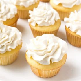 Cupcakes frosted with Vanilla Buttercream Frosting