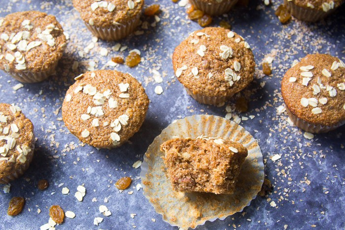 Bran muffins made with unprocessed wheat bran, rolled oats, and golden raisins