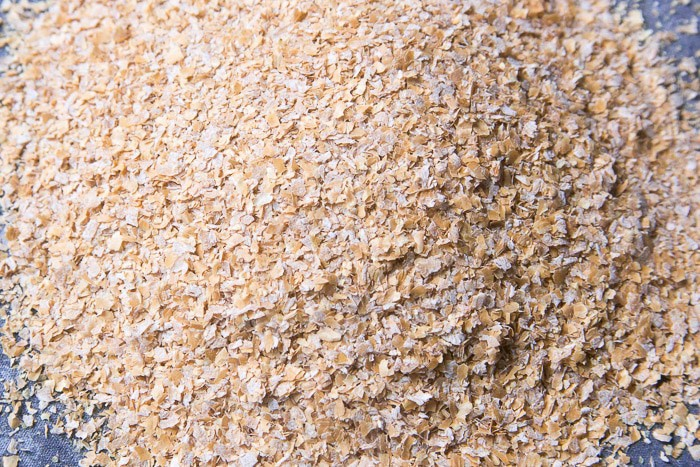 A close up picture of unprocessed wheat bran