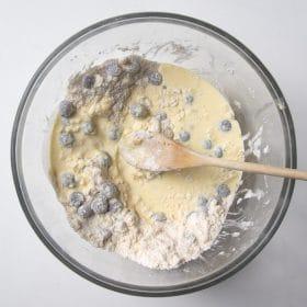 Liquid ingredients mixed into batter