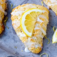 Lemon scones drizzled with lemon glaze