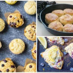 Collage of photos: various flavored muffins, Orange Cranberry Scones, Zucchini Loaf Bread