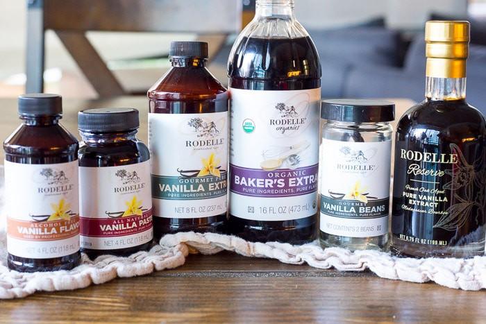 Various bottles of vanilla extract and vanilla paste